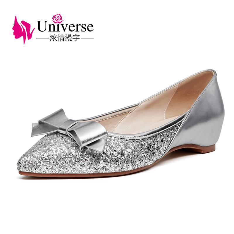 Universe Sequin Fashion Women Shoes Butterfly-knot E314