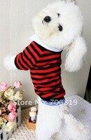 большие скидки! полосатой рубашке для домашних животных одежды уникальный щит на рукаве / ноги собака футболка одежда красный синий серый цвета