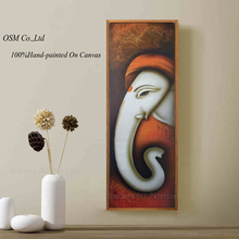 Professional Artist Hand-painted High Quality Indian God Geneisha Oil Painting On Canvas Handmade Special Elephant