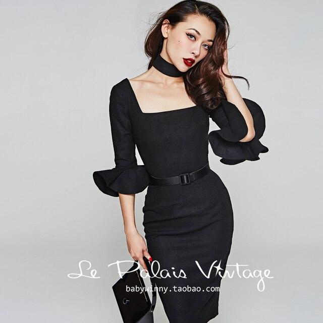 af322d84d60 45- le palais vintage women 50s wool ruffles sleeve wiggle pencil dress in  black plus size vestido elegant retro pinup dresses