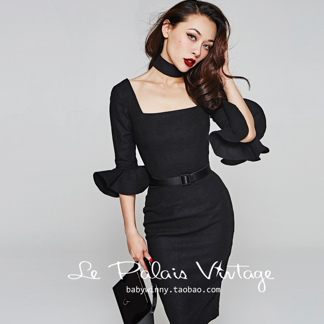 f36479c640a 45- le palais vintage women 50s wool ruffles sleeve wiggle pencil dress in  black plus size vestido elegant retro pinup dresses
