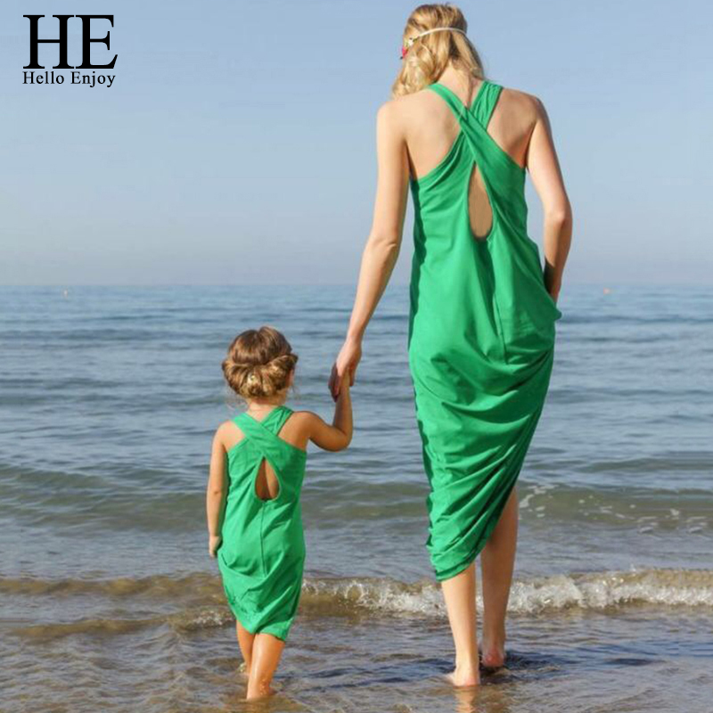 HE Hello Enjoy mother daughter dresses New 2017 summer