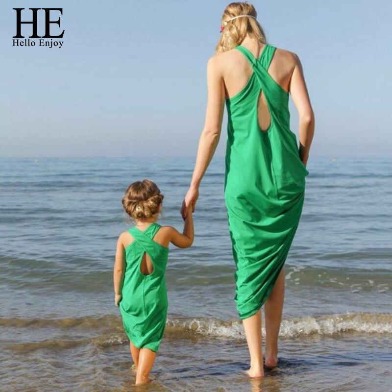 HE Hello Enjoy Mother Daughter Dresses New 2018 Summer Sleeveless Green Sandy Beach Dress Girl And Mother dress Family Matching