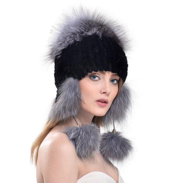 2016 New Women's Real Rabbit Fur Hat Knitted Rex Rabbit Fur Ear Protector Caps Winter Warm Real Silver Fox Fur Headwear LH347