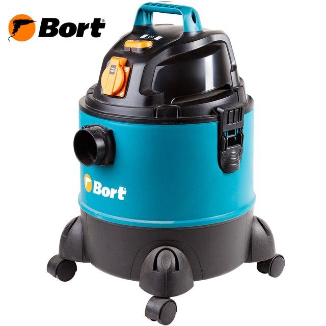 Пылесос универсальный Bort BSS-1220-Pro (розетка для подключения инструмента с функцией одновременного включения, подходит для всасывания жидкостей, двигатель с низким уровнем шума, большая сила всасывания)