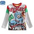 Retail 5 diverso tamaño del bebé niño de manga larga camiseta impresa camiseta de la historieta del bebé ropa de niños ropa Nueva estilo A5206