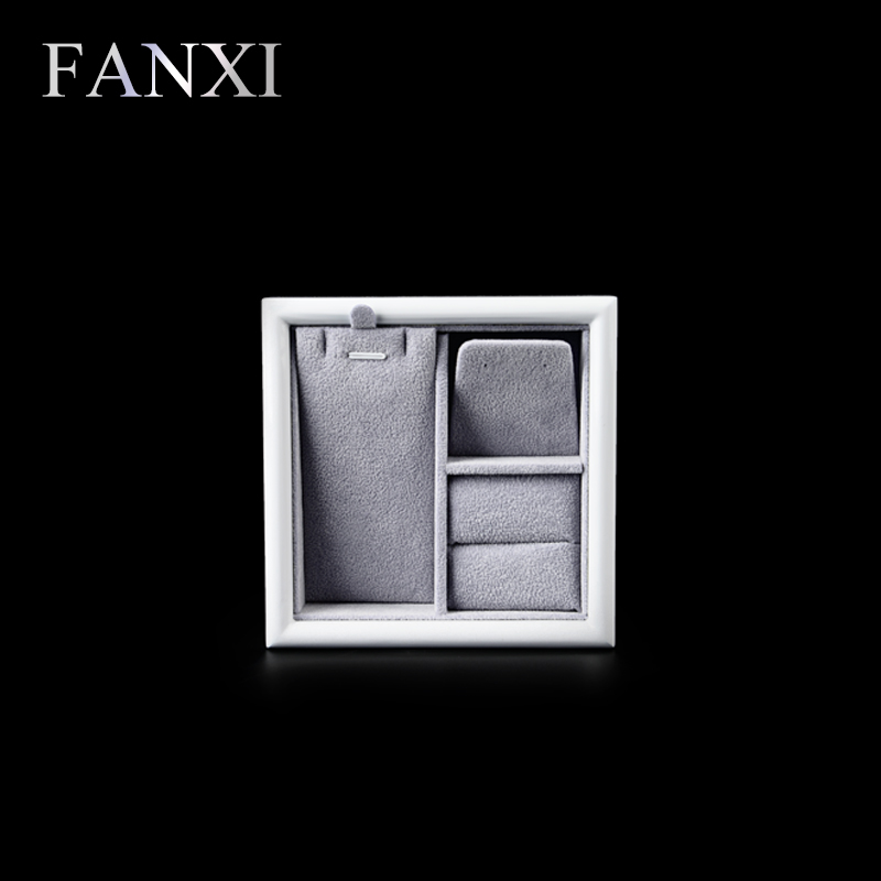 FANXI Free shipping custom 6 pcs lot solid wood with lacquer jewelry display trays for necklace