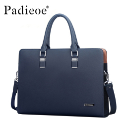 Padieoe Luxury Brand Genuine Leather Men Laptop Bag Briefcase Fashion Mens Business Bags Casual Leather Messenger Bag for Men