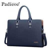 Padieoe luksusowa marka prawdziwej skóry męska torba na laptopa teczka moda męska torby biznesowe dorywczo skórzana torba dla mężczyzn