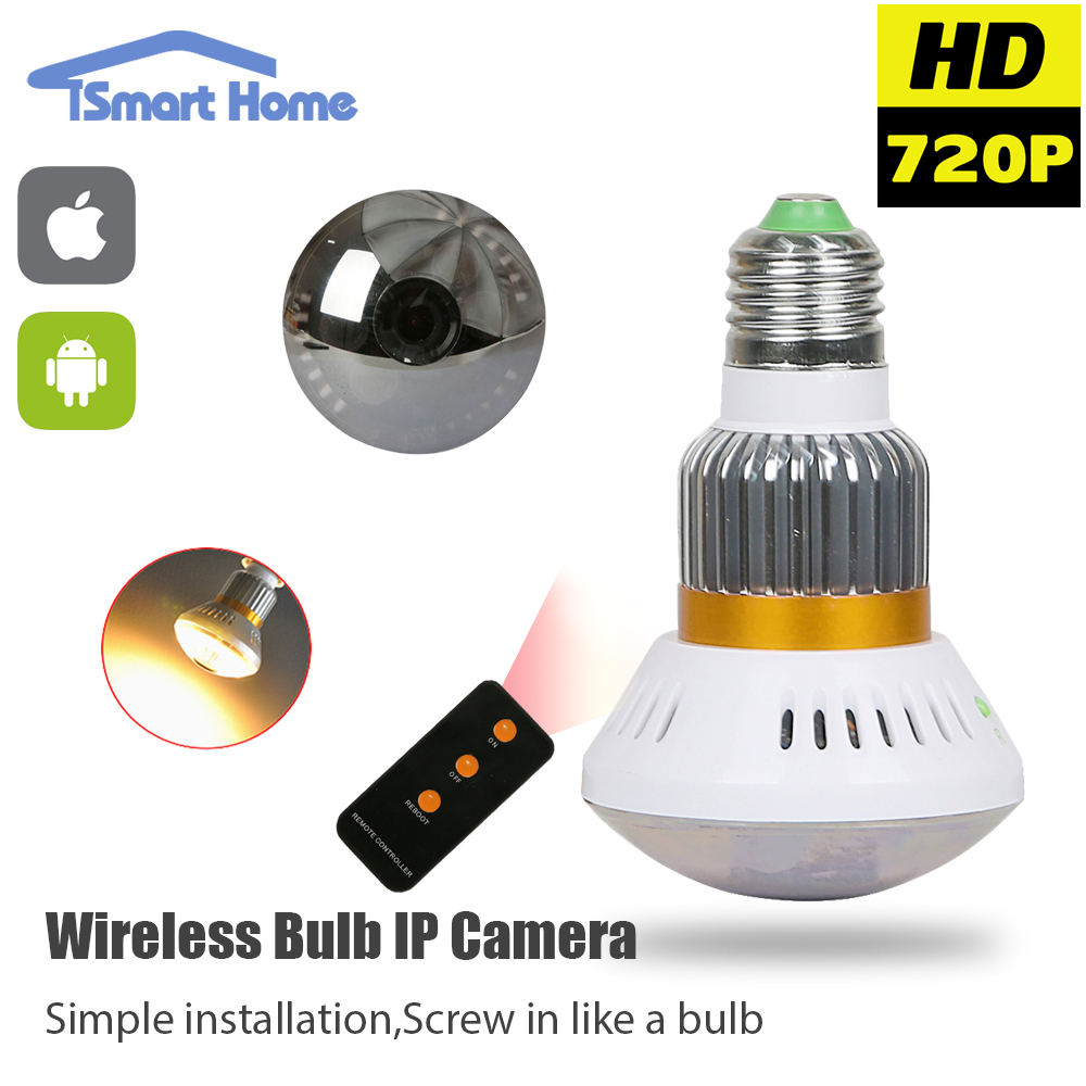 home bulb lamp mini ip camera wifi micro sd cctv security office camera hd 720p wireless audio surveillance night vision cam network security officer