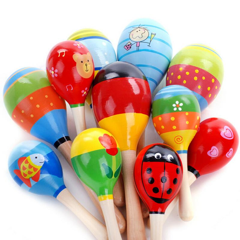 Baby Wooden Maraca Wood Rattles Kids Musical Party Favor Child Baby Shaker Toy Musical Instrument Toy Random Color