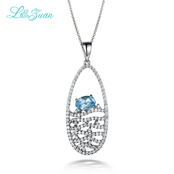 I&zuan Shine 925 Sterling Silver 1.11ct Topaz Blue Leaves Trendy Pendant Necklace Fine Jewelry For Women Fashion Accessories