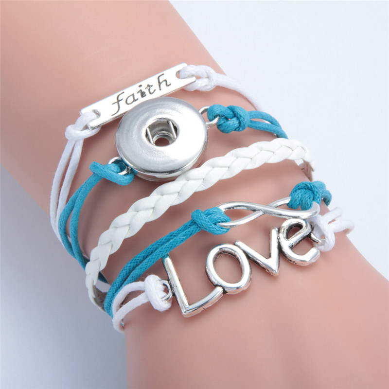 Fashion Infinity Love Faith Leather Metal Ginger 18mm Snap On Interchangeable Jewelry Snaps Mulitlayer Bracelet In Charm Bracelets From