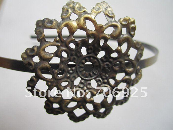 10 шт./партия, бронзовые обручи/повязки для волос с филигранной обмоткой FR042
