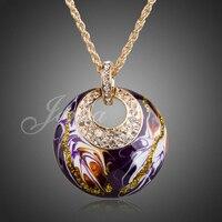 Jenia elegante pintura púrpura collar colgante color oro collar de diamantes de imitación del encanto mujeres xn020