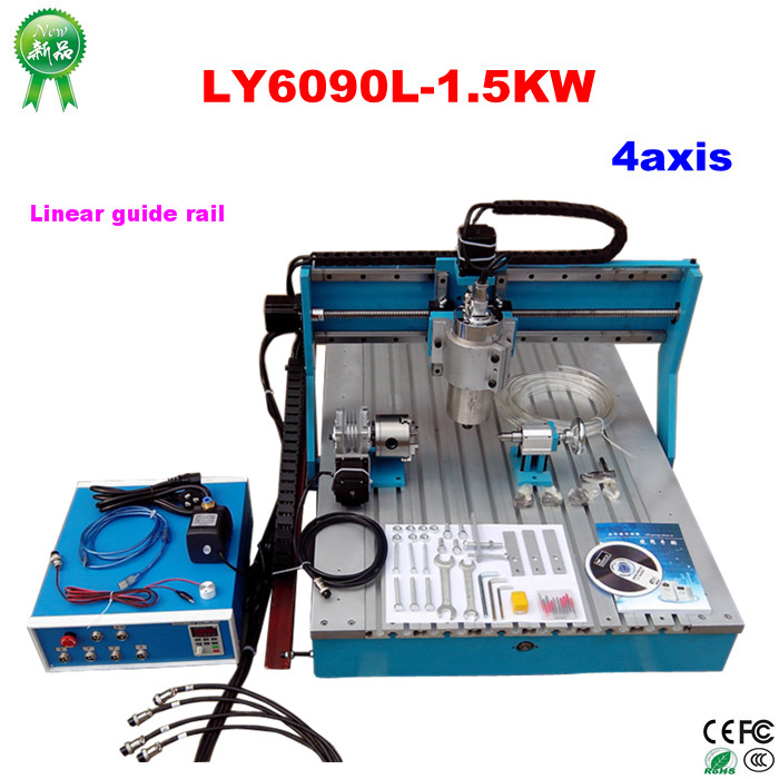 LY6090L-1.5KW 4axis Linear Guide Rail cnc milling machine ly cnc router 6090 l 1 5kw 4 axis linear guide rail cnc engraving machine for woodworking