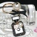 Marca Vintage Pedrería de Cristal botella de perfume llavero moda negro plateado mujeres bolsa y accesorios del coche del sostenedor del anillo llavero