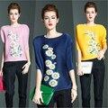 Новых европейских американских женщин мода о-образным вырезом летучая мышь рукав футболки пр офис рубашка женский элегантный раза печать хризантемы одежда