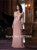 бесплатная доставка продать платье-линии розовый шифон милая декольте мать невесты платье / платье для беременных с куртка