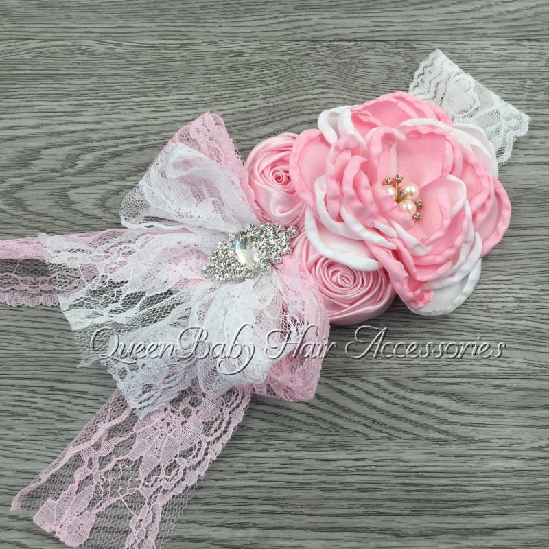 Layered Flower Matching Sparking Rhinestone In Center Lace Bow Headband Baby Headband Kidocheese
