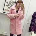 Médio - longo luxo tosquia de ovelhas casaco de pele pele um pedaço jaqueta colarinho mulheres terno grosso rússia casacos casaco de inverno MM-42