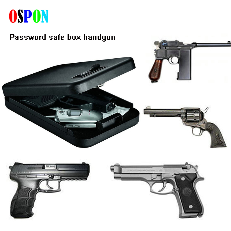 OSPON Portable Security Box Money Gun Digital Small Safe Box Cold-rolled Steel Car Safe Box Valuables Money Jewelry Storage Box