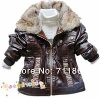бесплатная доставка в розницу дети мальчики кожаная куртка дети густой шерсти меховой воротник зимнее пальто детей одевая детской одежды