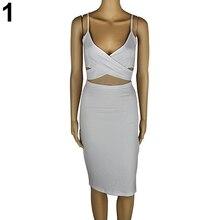 Women Summer Sexy Spaghetti Strap Cross V-Neck Hollow Cocktail Party Mini Dress