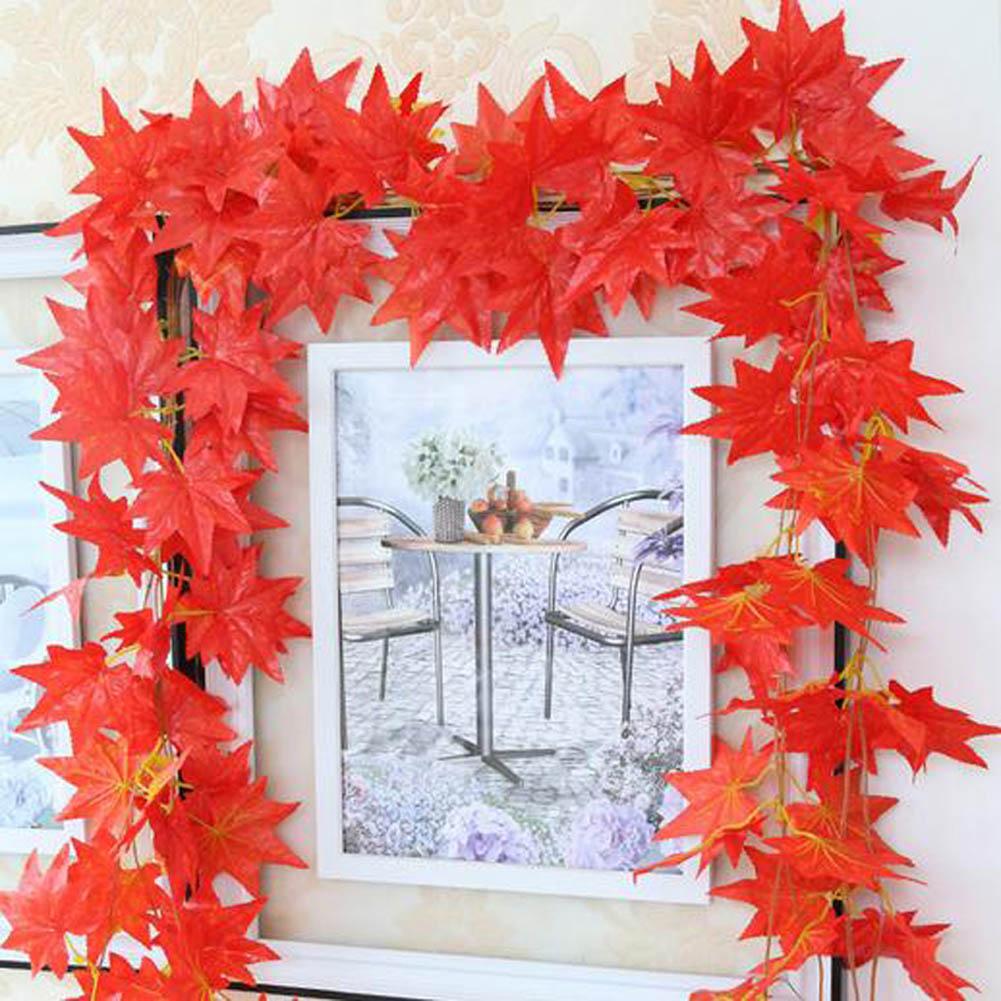 Home decoration artificial ivy red vine leaf garland for Decoration leaves