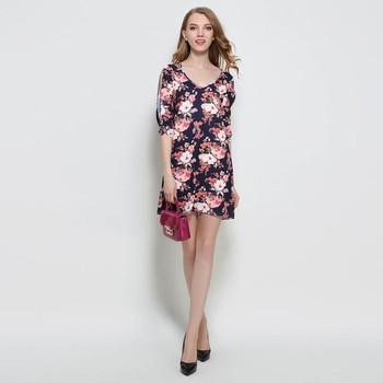 2017 Loose V-Neck Print Back Split A-Line One-piece Dress