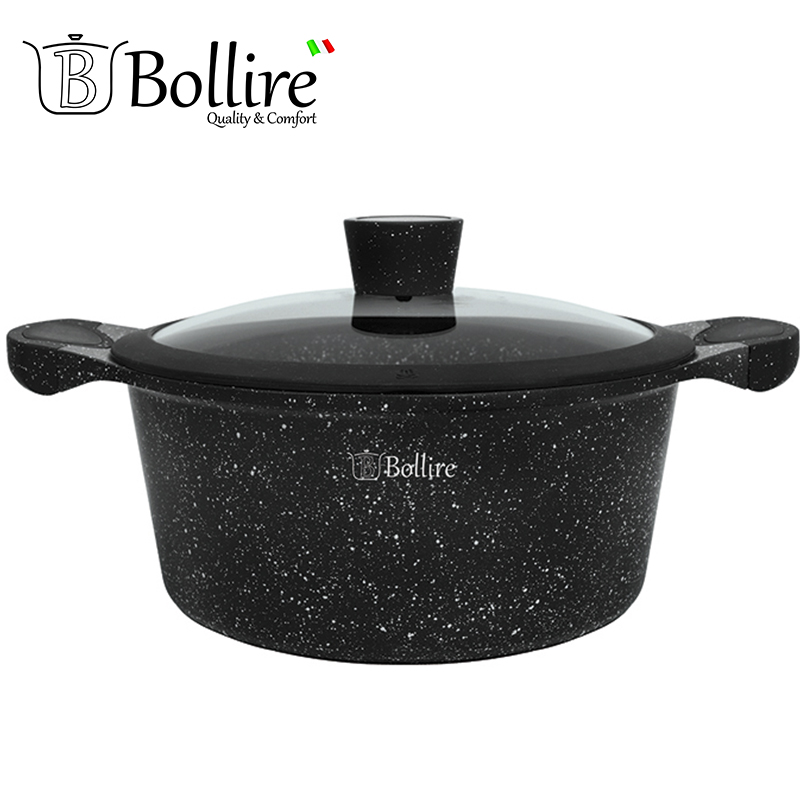 BR-1102 Casserole Bollire MILANO 2.4L 20cm Casseroles cast aluminum FULL INDUCTION BOTTOM Suitable for all types of plates
