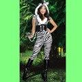 Бесплатная доставка женщины взрослые сексуальные зебра дизайн костюма женское белье хеллоуин костюм комбинезон мода меха животных костюм