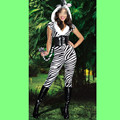 Free shipping women adult sexy zebra design costume lingerie halloween costume jumpsuit fashion fur animal costume