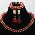 Boda Joyería Nupcial Conjuntos de Cristal Para Las Mujeres de Moda Oro Rojo Señora Traje Aretes Collar de la Declaración Envío Gratis WD052