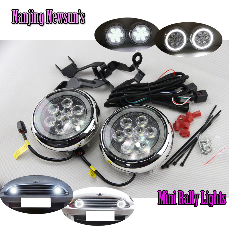 New Led Daytime Running Lights DRL With Halo Ring Angel Eyes For Mini Cooper Rally Driving Lights Front Bumper 6000K 1900Lm Auto