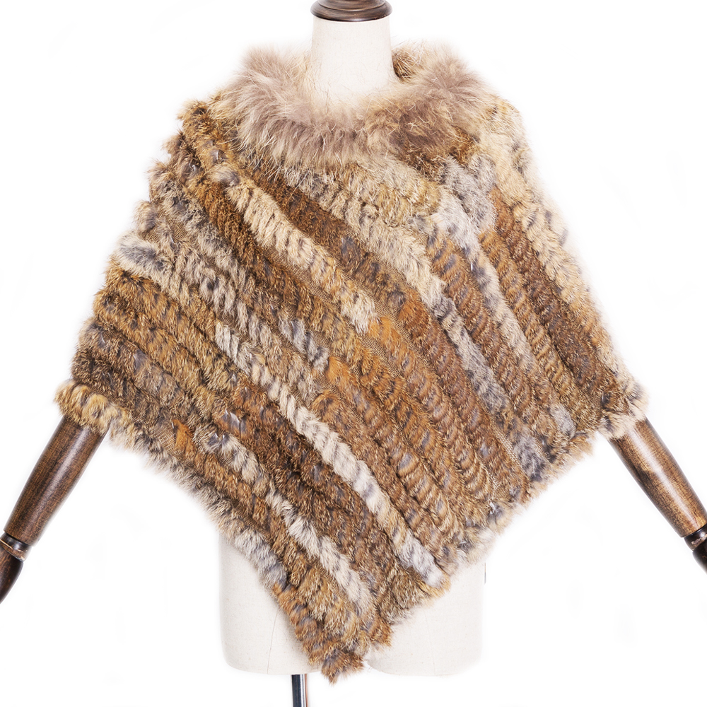 big real raccoon fur collar New Shawl Fashion Women Genuine Rabbit Fur Poncho Knitted Natural Rabbit