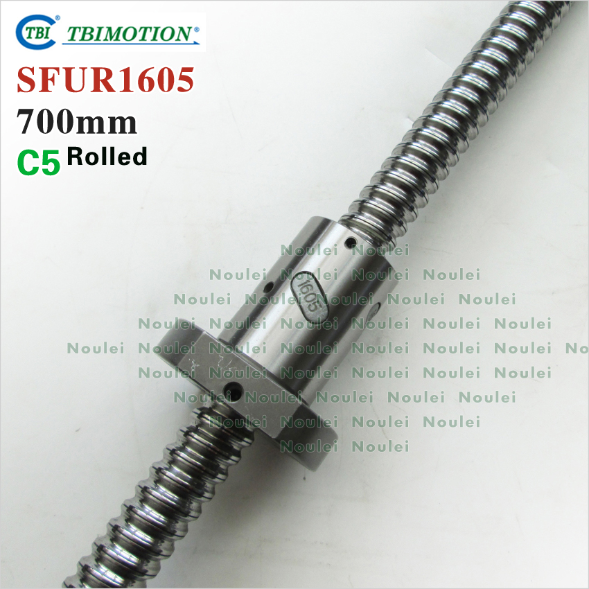 TBI 1605 C5 700mm ball screw 5mm lead rolled with SFU1605 ballnut + end machined for CNC z axis diy kit tbi 1605 c3 400mm ball screw 5mm lead with sfu1605 ballnut ground for high precision cnc diy kit of taiwan