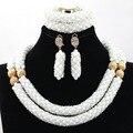 Moda Nigeriano Africana Conjunto de Joyería de Perlas Blanco Claro Chapado En Oro Accesorios de La Joyería para el vestido de Boda Árabe del Envío libre WA950