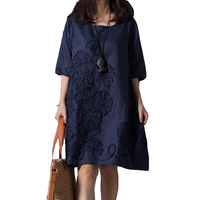 Vestido Casual 2015 Summer Style Women Dress O Neck Loose Plus Size Embroidered Linen Dress Elegant