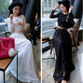 Women Set Clothing White/Black Sexy Long Sleeve Lace Crop Top And High Waist Lace Skirt Set RM-100