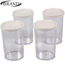 Стаканчики стеклянные для йогуртницы BRAND4002, Набор состоит из 4 шт * 200мл. С пластиковой крышкой