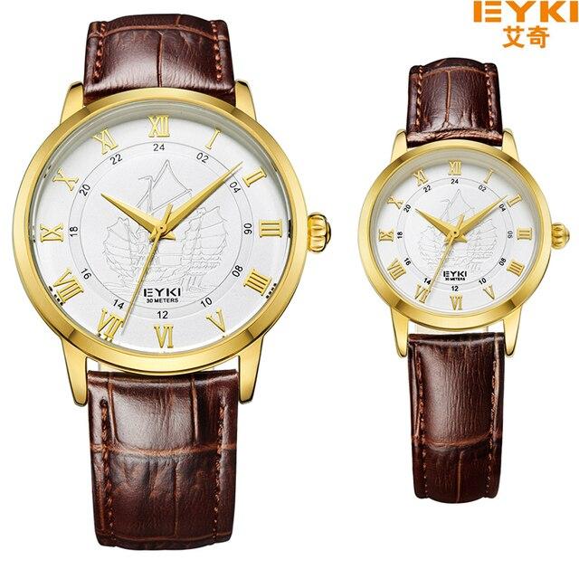 Marca de lujo Eyki Pareja Amantes de Cuarzo Reloj de Pulsera de Moda Romana Escala Nave Correa de Cuero Impermeable Reloj Hombre Mujer Relojes