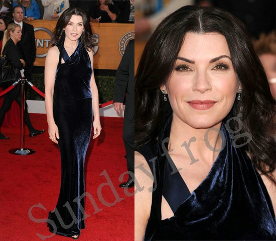 Julianna Margulies Screen Actors Guild(SAG) Red Carpet Celebrity Dresses  Asymmetrical Velvet Evening Dresses 07fd46d2845f