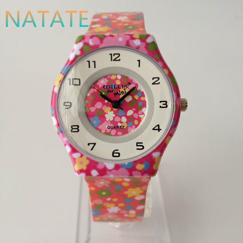 NATATE Quartz Willis Watch Fashion Colorful Round Dial Analog Wrist Watch with Ultrathin Silicone Band 0840 natate ibso women quartz watch crystal decorated large round dial analog wrist watch with waterproof woman leather band s3819