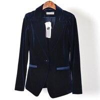 XL Single Button Velvet Blazer Coat Women Slim Long Sleeve Blazer For Women Notched Middle Length