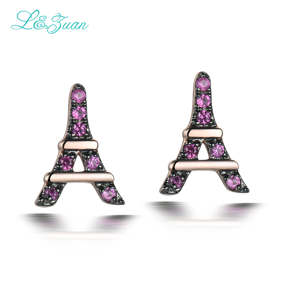 l&zuan Romantic Eiffel Tower Earring 14K Rose Gold Natural Ruby Jewelry Luxury Stud Earrings for Women Fine Jewelry Bijoux ювелирное украшение из шифона eiffel tower с бриллиантами от 18s rose golds