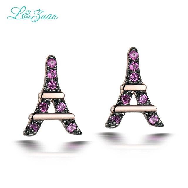 l&zuan Romantic Eiffel Tower Earring 14K Rose Gold Natural Ruby Jewelry Luxury Stud Earrings for Women Fine Jewelry Bijoux