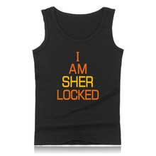 Sher Locked Summer West Tank Top Men Bodybuilding And Plus Size 221B Exercise Workout Tank Tops Sherlock Logo Black Clothes