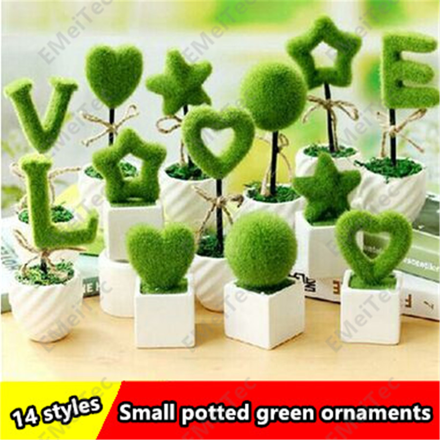 set high artificial flowers potted green plants creative wedding love letter home decorative ceramic ornaments small potted