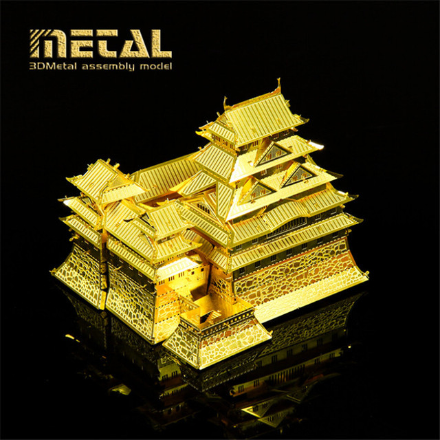 Educational 3D Puzzle Metal Model Jigsaws DIY Gift Gold Japan Himeji Castle Metal Puzzle 3D, Cute Puzzle Toys, Toys For Children